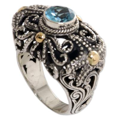 Artisan Crafted Gold Accent Blue Topaz Cocktail Ring