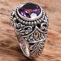 Gold accented amethyst cocktail ring, 'Leafy Purple' - Gold Accent Amethyst Leaf Motif Cocktail Ring from Indonesia