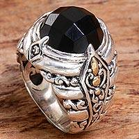 Gold accented onyx cocktail ring, 'Black Majestic' - Gold Accented Sterling Silver Onyx Cocktail Ring