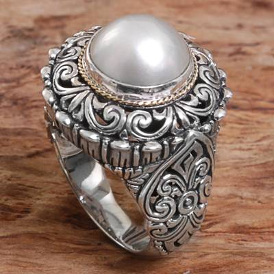 Cultured pearl cocktail ring, 'Romantic Moonlight' - Cultured Mabe Pearl Sterling Silver Cocktail Ring