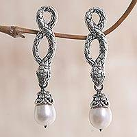 Cultured pearl dangle earrings, 'Snake Charms' - Sterling Silver and Cultured Freshwater Pearl Snake Earrings