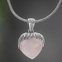 Rose quartz and amethyst pendant necklace, 'Pale Strawberry' - Amethyst and Rose Quartz Pendant Necklace Handmade Indonesia