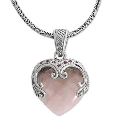 Amethyst and Rose Quartz Pendant Necklace Handmade Indonesia