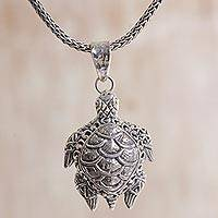 Sterling silver pendant necklace, 'Turtle Dream' - Sterling Silver Turtle Pendant Necklace in Indonesia