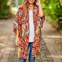 Rayon robe, 'Brush Fire' - Multicolored Floral Rayon Robe in Brick from Indonesia