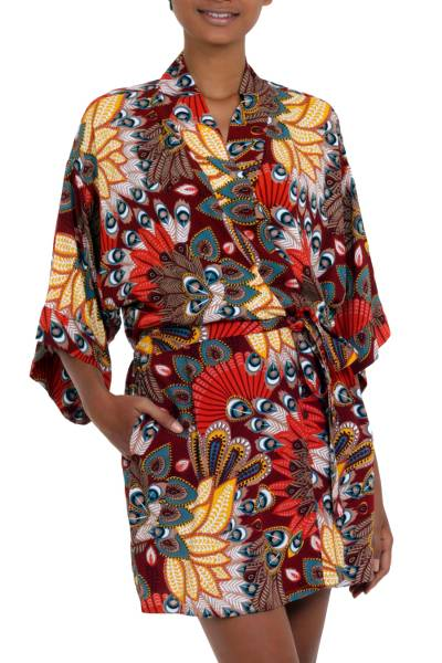 Multicolored Floral Rayon Robe in Brick from Indonesia