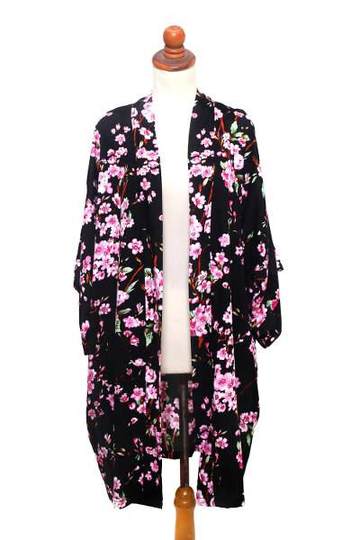 Rayon robe, 'Spring Cherry Blossom' - Floral Rayon Robe in Black and Fuchsia from Indonesia