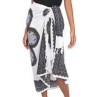 Rayon sarong, 'Black Daisy' - Indonesian Rayon Sarong with Black Floral Print
