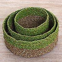 Pandan leaf nesting baskets,