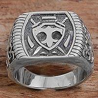 Men's sterling silver signet ring, 'Shield of Indra' - Sterling Silver Shield Men's Signet Ring from Indonesia