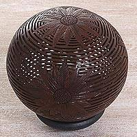 Coconut shell sculpture, 'Ferny Flower' - Hand Made Coconut Shell Flower Sculpture from Indonesia