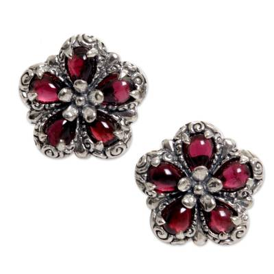 Sterling Silver Garnet Button Earrings from Indonesia