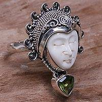 Featured review for Peridot cocktail ring, Saraswati Face in Green