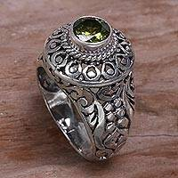 Peridot cocktail ring, 'Ocean Island' - Sterling Silver and Peridot Cocktail Ring from Indonesia