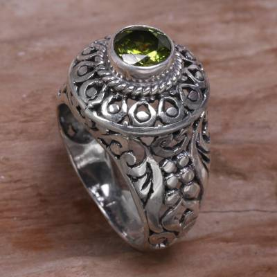 birthstone ring and necklace - Sterling Silver and Peridot Cocktail Ring from Indonesia