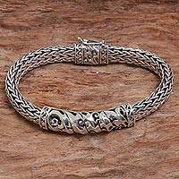 Sterling silver chain bracelet, 'Cresting Waves' - Sterling Silver Chain Pendant Bracelet Waves from Indonesia