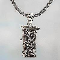 Sterling silver prayer box necklace, 'Secret Dragon' - Sterling Silver Prayer Box Necklace Dragon from Indonesia