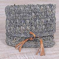 Natural fiber leather accent clutch,