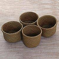 Pandan leaf nesting baskets, 'Cozy Homestead' (set of 4) - Hand Made Pandan Leaf Nesting Baskets (Set of 4) Indonesia