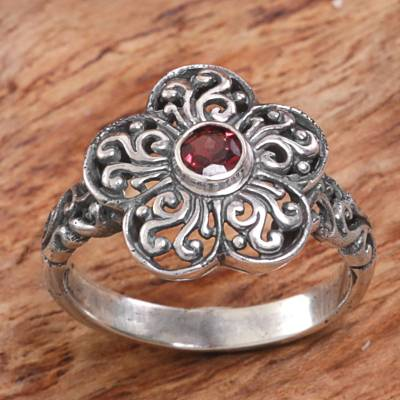 fine sterling silver necklace - Sterling Silver Garnet Floral Cocktail Ring from Indonesia
