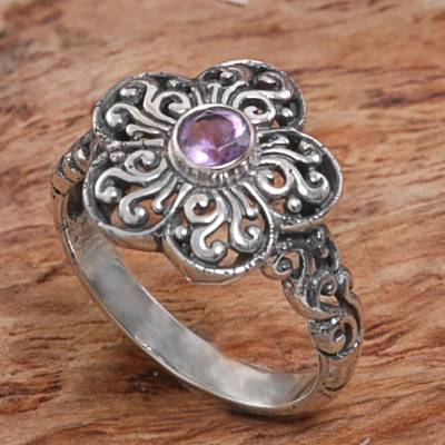 christian silver fish ring - Sterling Silver Amethyst Floral Cocktail Ring Indonesia