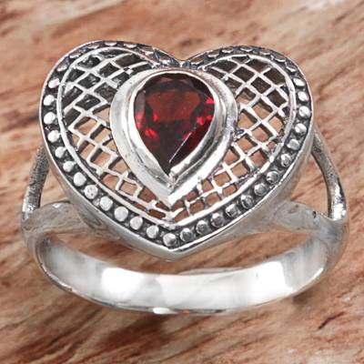 sterling silver settings - Sterling Silver and Garnet Heart Shaped Cocktail Ring