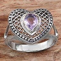 Amethyst cocktail ring, 'Bali Heart in Purple' - Sterling Silver Amethyst Heart Cocktail Ring from Indonesia