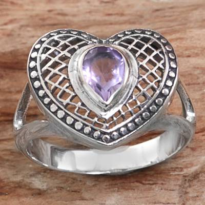 silver locket oval - Sterling Silver Amethyst Heart Cocktail Ring from Indonesia
