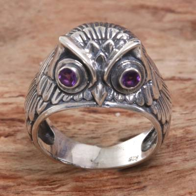 genuine silver rings ebay - Sterling Silver Amethyst Owl Domed Ring from Indonesia