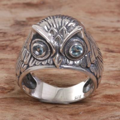 Sterling Silver Blue Topaz Owl Domed Ring from Indonesia