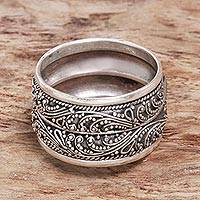 Sterling silver wide band ring, 'Strand of Nature' - Hand Made Sterling Silver Band Ring from Indonesia