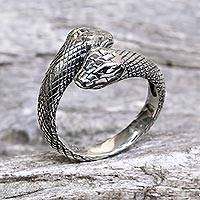 Sterling silver wrap ring, 'Sea Serpent' - Hand Made Sterling Silver Snakes Wrap Ring Indonesia