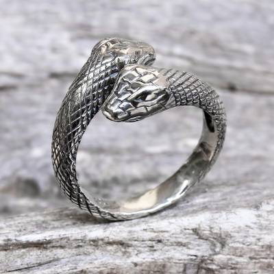 mens long silver necklace - Hand Made Sterling Silver Snakes Wrap Ring Indonesia