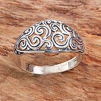 Sterling silver cocktail ring, 'Sterling Swirls' - Hand Made Openwork Sterling Silver Cocktail Ring
