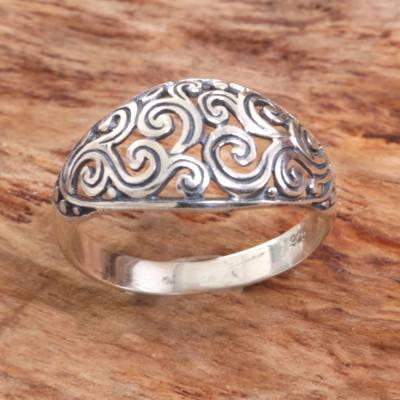 best silver rings design example - Hand Made Openwork Sterling Silver Cocktail Ring