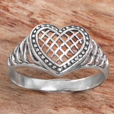 Sterling Silver Heart Shaped Cocktail Ring from Indonesia