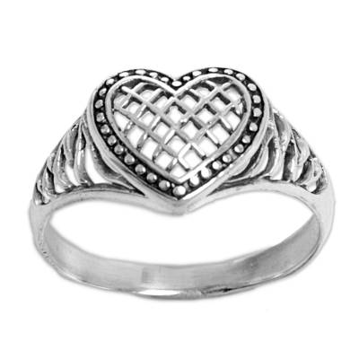 Sterling silver cocktail ring, 'Bali Heart' - Sterling Silver Heart Shaped Cocktail Ring from Indonesia