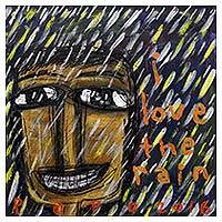 'I Love the Rain' - Smiling in the Rain Signed Caricature Painting from Java Art