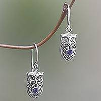 Amethyst dangle earrings, 'Owl Heart in Purple' - Amethyst Sterling Silver Owl Dangle Earrings from Indonesia