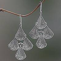 Sterling silver dangle earrings, 'Swirling Drops' - Hand Made Sterling Silver Dangle Earrings from Indonesia