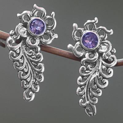 Amethyst drop earrings, 'Jungle Frond' - Hand Made Amethyst Floral Drop Earrings from Indonesia
