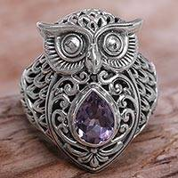 Amethyst cocktail ring, 'Amethyst Owl' - Amethyst Sterling Silver Owl Cocktail Ring from Indonesia