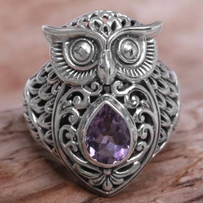 amethyst sterling silver owl cocktail ring from indonesia