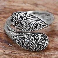 Sterling silver wrap ring, Fern and Flower - Hand Made Sterling Silver Wrap Ring Floral Motif Indonesia