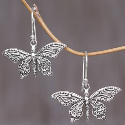 Sterling silver dangle earrings, 'Dancing Butterflies' - Sterling Silver Butterfly Dangle Earrings from Indonesia