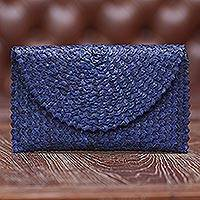 Palm leaf clutch handbag, 'Trance in Navy Blue' - Handmade Palm Leaf Fiber Clutch Handbag Indonesia in Blue