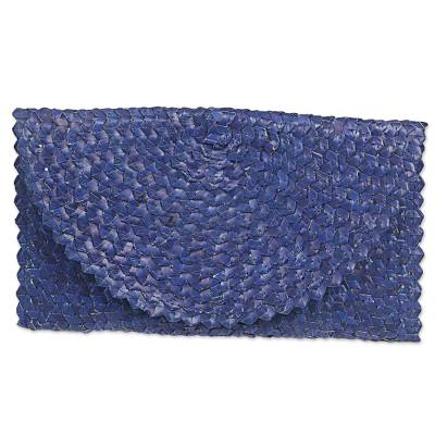 Handmade Palm Leaf Fiber Clutch Handbag Indonesia in Blue