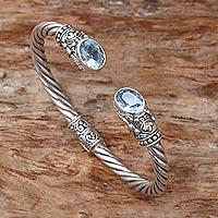 Gold accented blue topaz cuff bracelet,