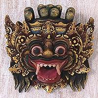Wood mask, 'Bali Barong' - Hand Made Gold Colored Wood Mask from Indonesia