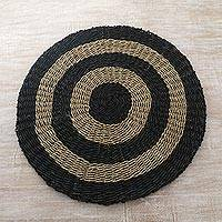 Pandan leaf area rug, 'Halo Moon' (3 feet diameter) - Hand Woven Pandan Leaf Round Area Rug (3 Feet Diam.)